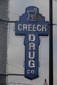 Creech Drug Store sign