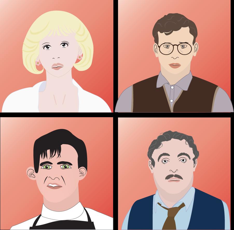 Audrey, Seymour, Orin, Mushnik