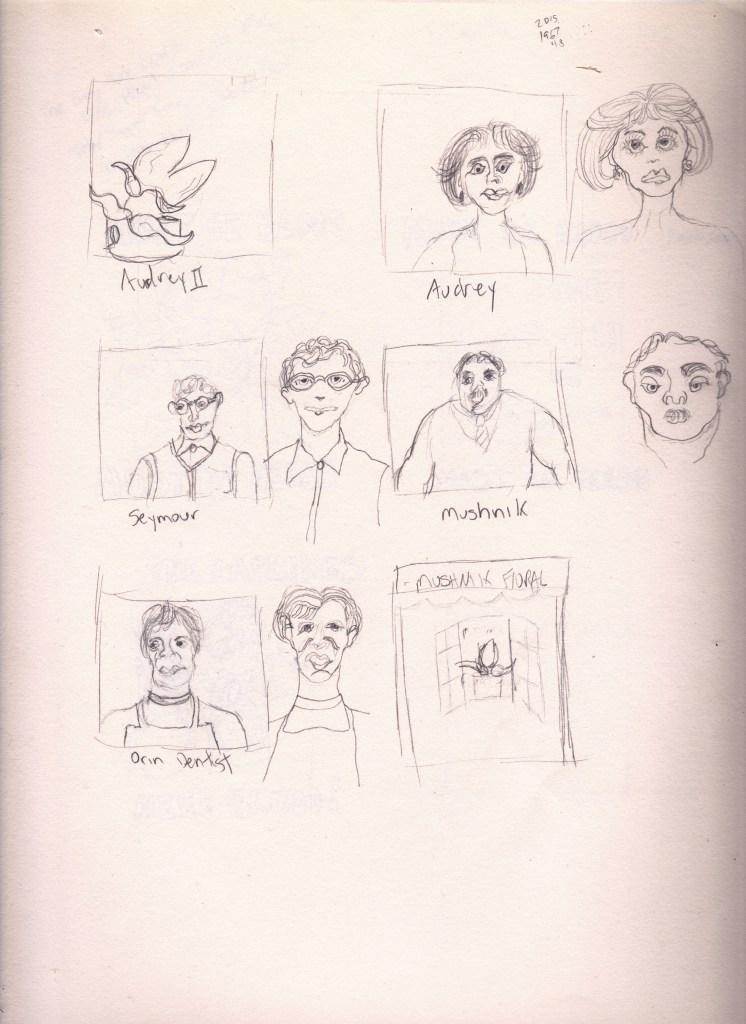 Audrey, Seymour, Mushnik, Orin, Audrey II