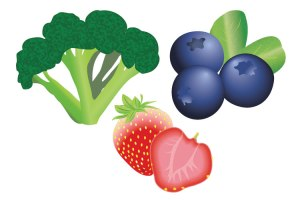 broccoli, blueberry, strawberry