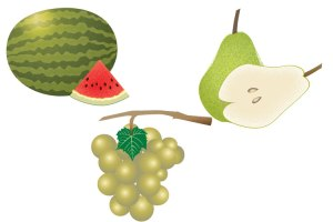 Watermelon, Pear, Grapes
